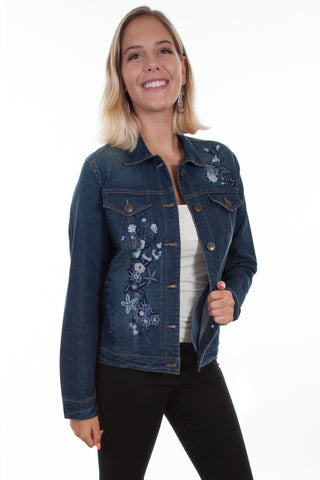 Scully Womens Denim Cotton Blend Floral Tone Jacket