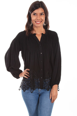 Scully Womens Black Rayon Full Cut L/S Blouse