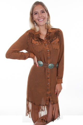 Scully Womens Rust Rayon Western Fringe L/S Dress