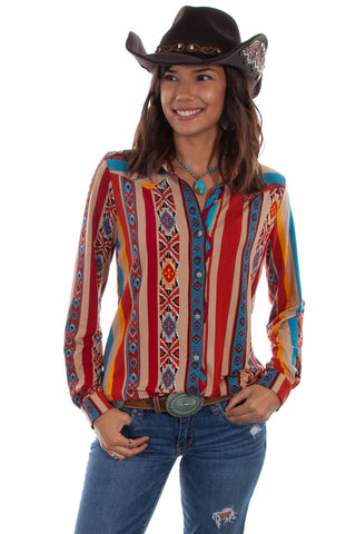 Scully Womens Serape Rayon Western L/S Blouse