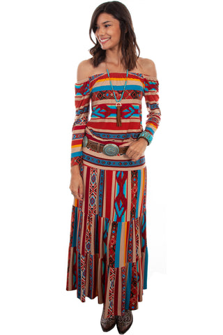 Scully Womens Serape Rayon Maxi Tiered Skirt