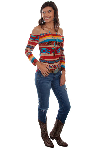 Scully Womens Serape Rayon Ballet Top S/S Tunic