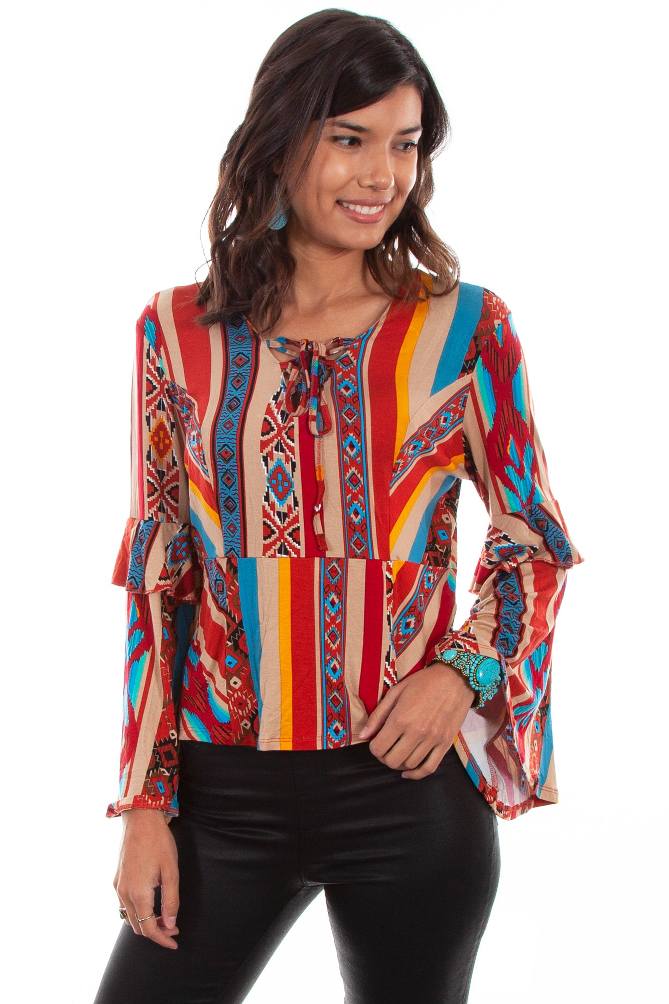 c043d977 Scully Womens Serape Rayon Ruffle L/S Blouse – The Western Company
