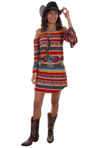 Scully Womens Serape Rayon Peasant L/S Dress