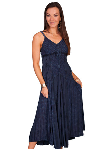 Scully Honey Creek Womens Spaghetti Strap Dress Blue 100% Rayon Front Tie