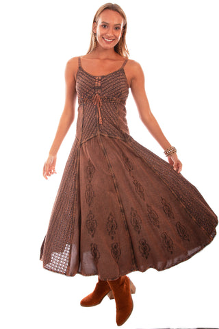 Scully Honey Creek Womens Spaghetti Strap Dress Copper 100% Rayon Front Tie