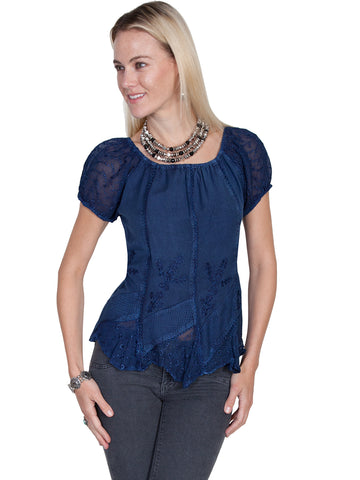 Scully Honey Creek Womens Blue 100% Rayon S/S Multi-Fabric Blouse