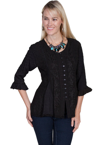 Scully Honey Creek Womens Blouse Black 100% Rayon Embroidered 3/4 Sleeve