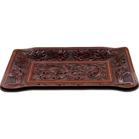 3D Tan Leather Valet Tray Floral Tooled