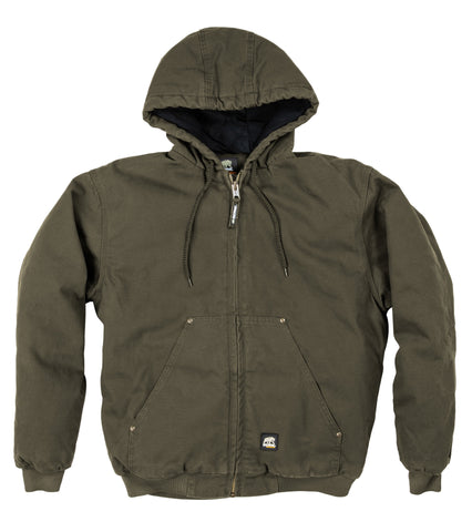 Berne Mens Olive Duck 100% Cotton Hooded Jacket Quilt Lined