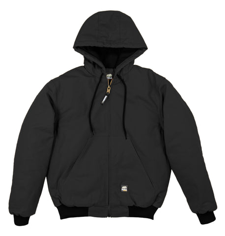 Berne Mens Black 100% Cotton Hooded Jacket