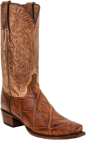 Lucchese Mens Cowboy Boots Brandy/Navy Giant American Alligator