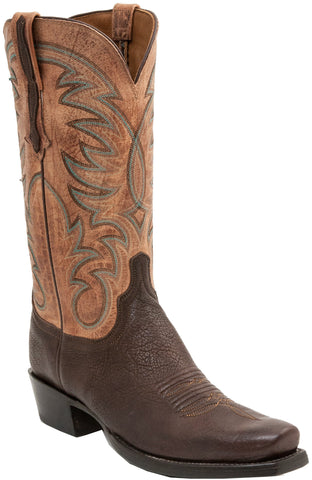 Lucchese Mens Cowboy Boots Walnut Mad Dog Goat Leather