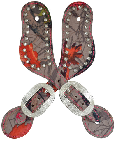 Angel Ranch Hotleaf Camo Leather Spur Straps Crystals