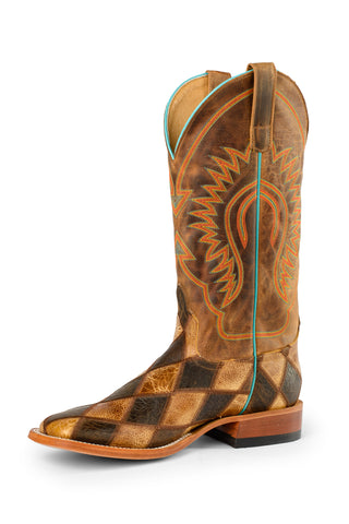 Horse Power by Anderson Bean Mens Honey Leather Cowboy Boots Patchwork