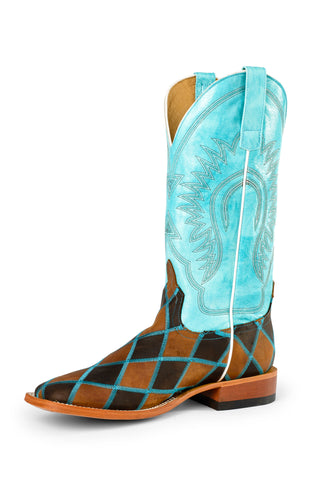 Horse Power by Anderson Bean Youth Turquoise Leather Cowboy Boots Patch