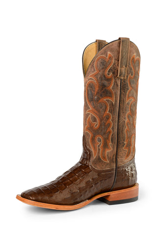 Horse Power by Anderson Bean Youth Brown Leather Cowboy Boots Croc Print