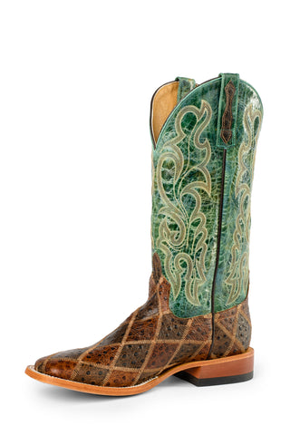 Horse Power by Anderson Bean Mens Green Leather Cowboy Boots Rocksteer