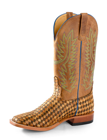 Horse Power by Anderson Bean Mens Tan Leather Punchy Cowboy Boots