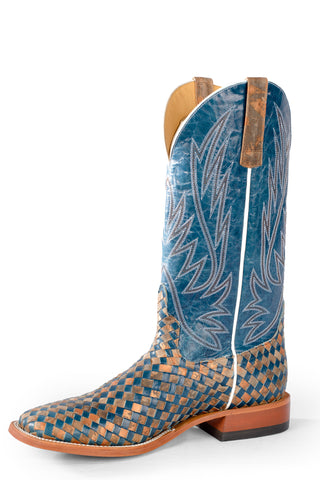 Horse Power by Anderson Bean Mens Blue Leather Cowboy Boots Unbeweavable