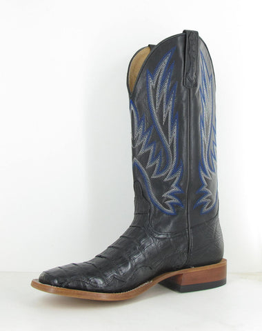 Horse Power by Anderson Bean Mens Black Caiman Skin Cowboy Boots Goat