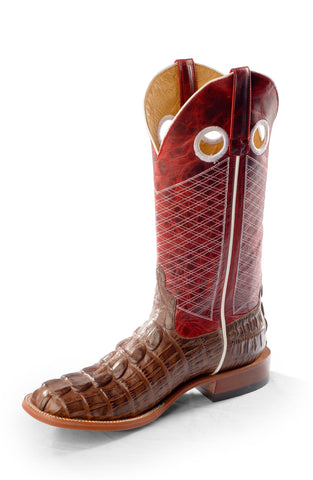 Horse Power by Anderson Bean Youth Red Leather Cowboy Boots Croc Print