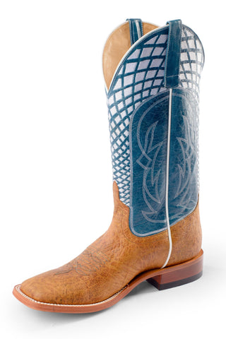 Horse Power by Anderson Bean Mens Blue Leather Cowboy Boots Bullfrog