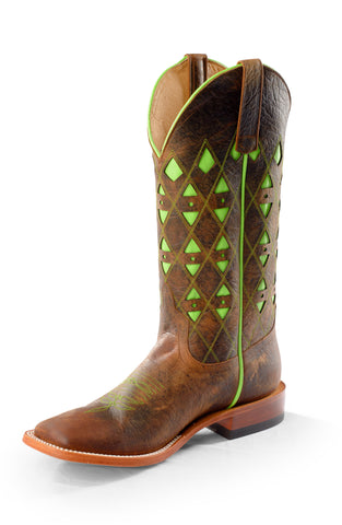Horse Power by Anderson Bean Mens Toast Bison Leather Cowboy Boots Green