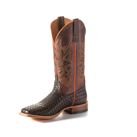 Horse Power by Anderson Bean Mens Black Leather Cowboy Boots Weave