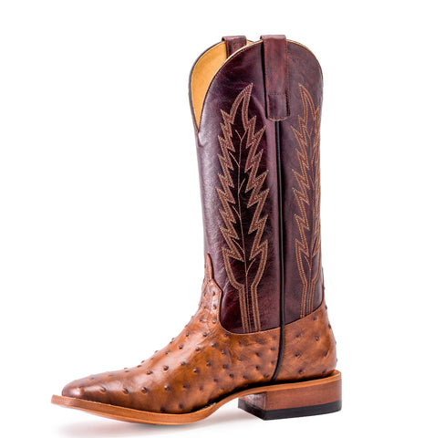 Horse Power by Anderson Bean Mens Red Leather Rum Ostrich Cowboy Boots