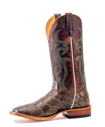 Horse Power by Anderson Bean Mens Rust Leather Fish Filet Cowboy Boots