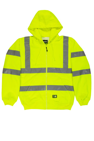 Berne Mens Yellow Fleece Hi-Visibility Hooded Sweatshirt