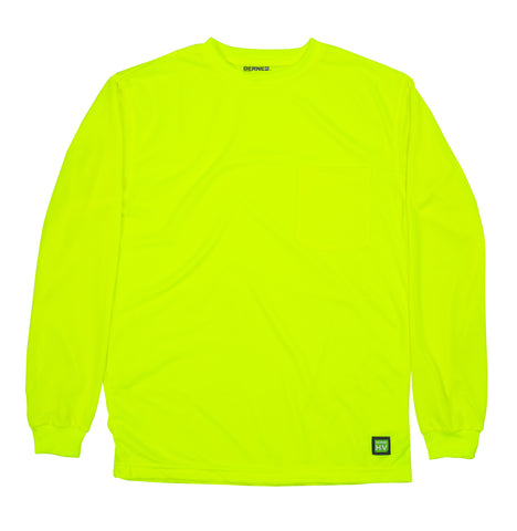Berne Mens Yellow Polyester Enhanced Visibility L/S Tee S/S