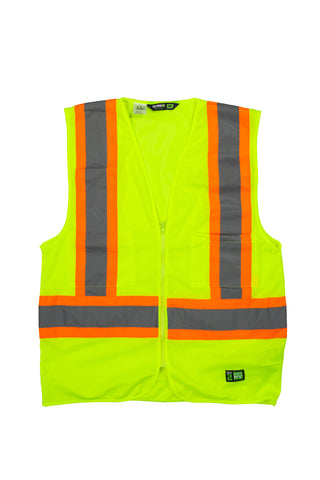 Berne Mens Yellow Polyester Hi-Visibility Multi-Color Vest