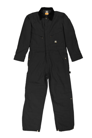 Berne Mens Black 100% Cotton Deluxe Insulated Coverall