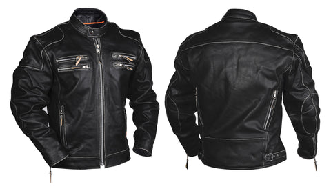 Interstate Gangster Mens Motorcycle Jacket Black Leather