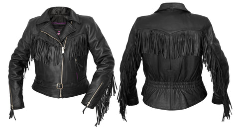 Interstate Madonna Womens Motorcycle Jacket Black Leather
