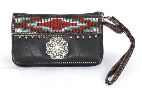 Savana Black Faux Leather Ladies Black Wallet Aztec Weave Rhinestone