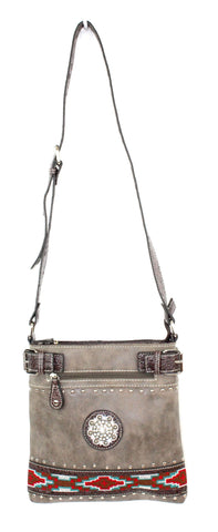 Savana Brown Faux Leather Ladies Brown Crossbody Aztec Medallion