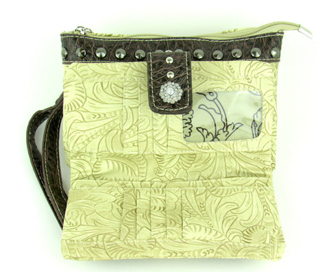 Savana Bone Faux Leather Ladies Bone Clutch Gator Print Concho
