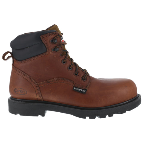 Iron Age Mens Brown WP Leather 6in Work Boots Hauler Composite Toe