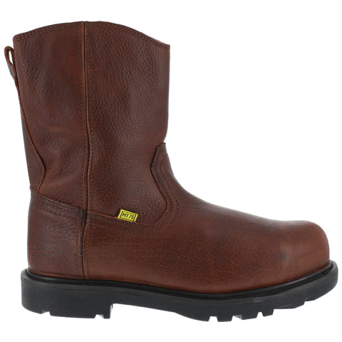 Iron Age Mens Brown Leather Wellington Met Guard Boots Hauler Comp Toe