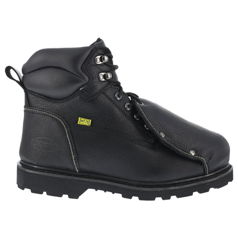 Iron Age Mens Black Leather Met Guard Work Boots Ground Breaker Steel Toe