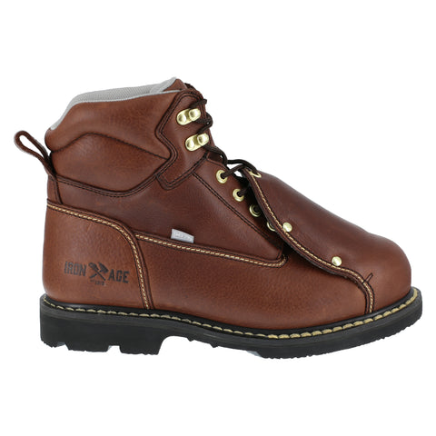 Iron Age Mens Brown Leather Work Boots Groundbreaker 6in External MetGuard