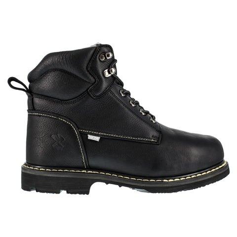 Iron Age Mens Black Leather Work Boots Groundbreaker 6in External MetGuard