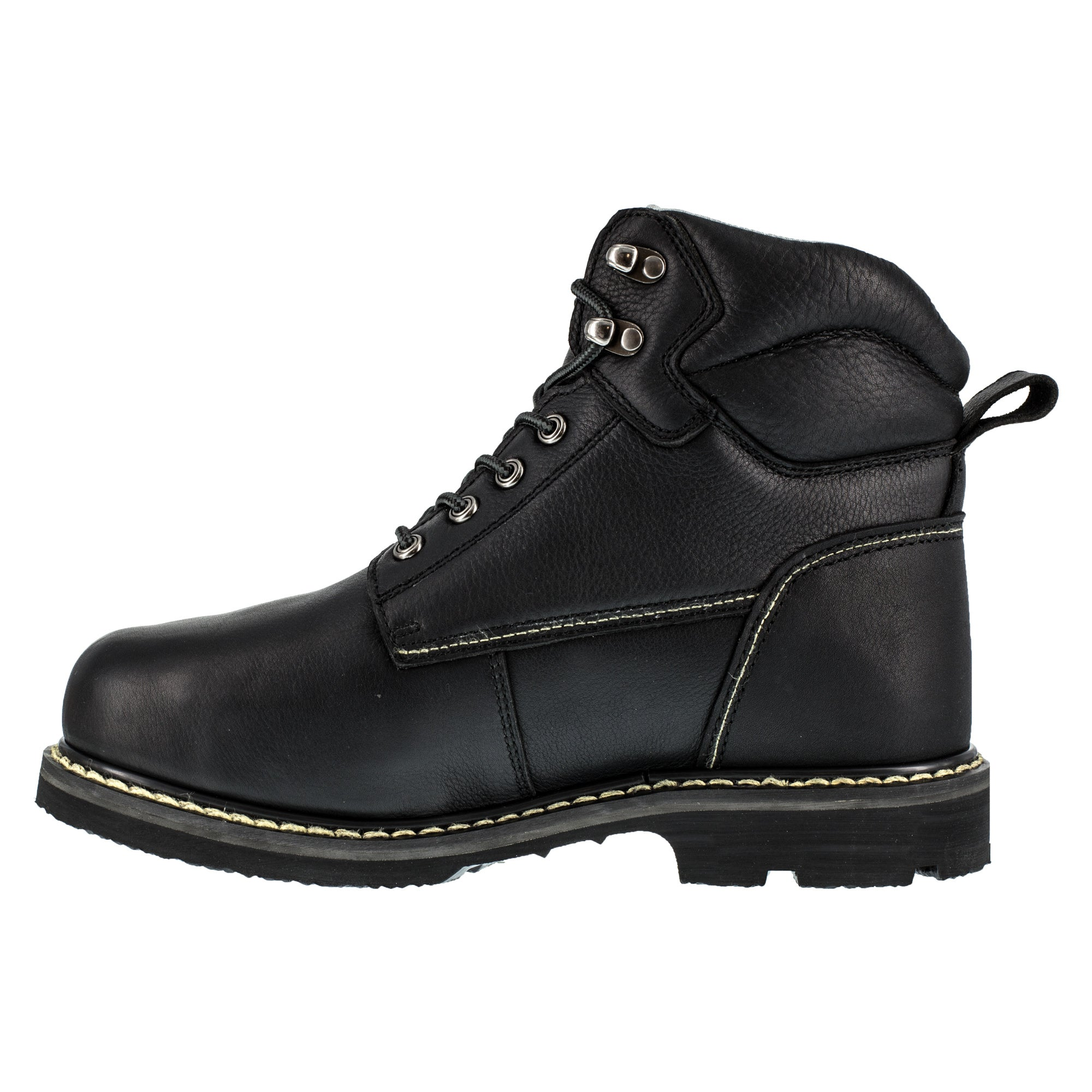 Iron Age Mens Black Leather Work Boots Groundbreaker 6in External Metg The Western Company