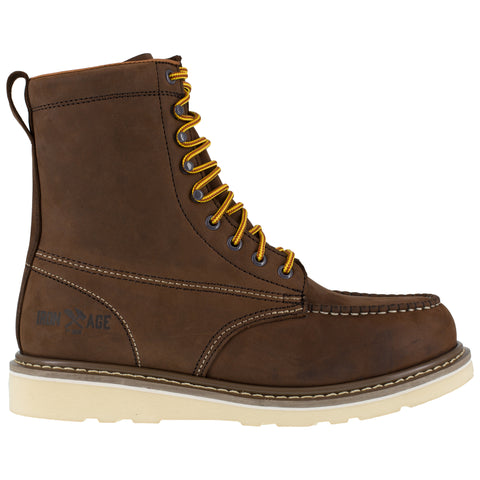 Iron Age Mens Brown Leather Work Boots Reinforcer 8in Wedge ST