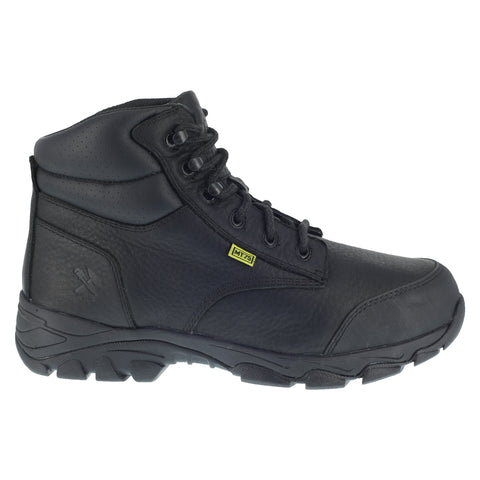 Iron Age Mens Black Leather Work Boots Galvanizer 6in Internal MetGuard