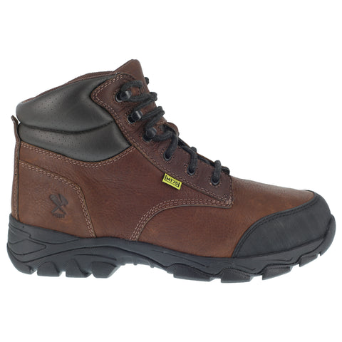 Iron Age Mens Brown Leather Work Boots Galvanizer 6in Internal MetGuard