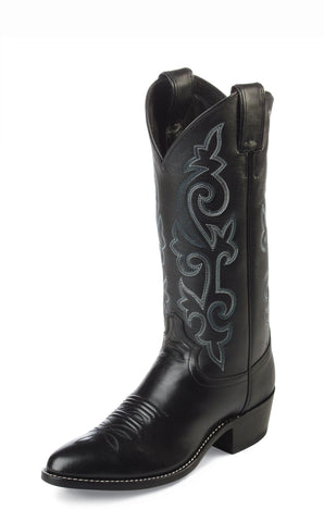 Justin Mens Black London Calf Leather Western Boots 13in Cowboy